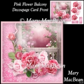 Pink Flower Balcony Decoupage Card Front