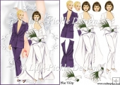 Bride and Bride Wedding Decoupage Purple Suit