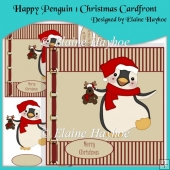 Happy Penguin 1 Christmas Cardfront with Decoupage