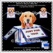 Golden Retriever In A Blue Box - Box Card Kit With Greetings