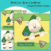 Pool Cue Bear Cardfront with Decoupage