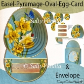 Easter Blessing Daffodil Easel Pyramage Oval Egg Card
