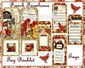 French Farmhouse Tag Booklet with Pockets, Background, and Tags