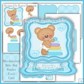 Marshmallow Baby Boy Bracket Easel Card