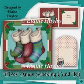 Elves Xmas Stocking Card Kit