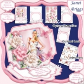 LADY WITH PINK & WHITE ROSES Large Easel Card Kit
