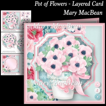 Pot of Flowers - Layered Card