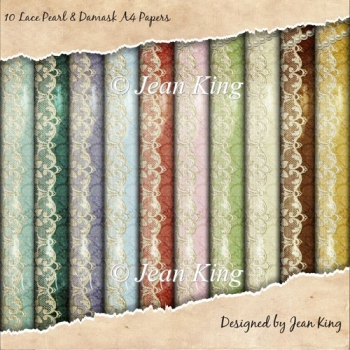 10 Lace Pearl & Damask A4 Papers