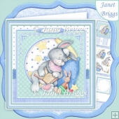 BABY BOY SLEEPY BUNNY 8x8 Decoupage & Insert Kit