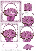 Pretty lilac roses in a basket with bow sympathy pyramids
