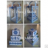 3D 3 Tier Square Blue and White Flower Cake and Display Box Set