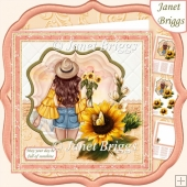 SUNFLOWER LADY 7.5 Decoupage & Insert Card Kit