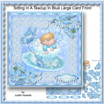 Sitting In A Teacup In Blue Large Card Front
