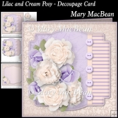 Lilac and Cream Posy - Decoupage Card