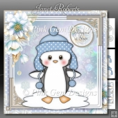 Penguin in Pom Pom Hat Blue - Mini Kit