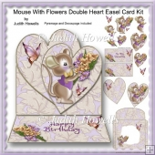Mouse With Flowers Double Heart Easel Card Kit