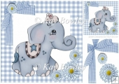 cute blue ele in gingham frame with bows & flowers 8x8