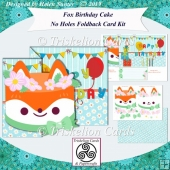 Fox Birthday Cake No Holes Foldback Card Kit with Decoupage