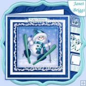 SKIING SNOWMAN 7.5 Christmas Decoupage & Insert Mini Kit