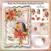 Robin And Poinsettias Scalloped Card Kit