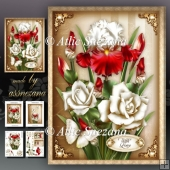 White Red Iris With Roses Card Mini Kit