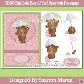 CDS80 Pink Baby Bear A5 Card Front with Decoupage