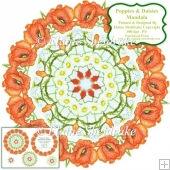 Poppies & Daisy Flowers Mandala Card Topper