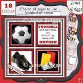 FOOTBALL RED 7.5 Quick Card Verse or Ages Decoupage & Insert Kit