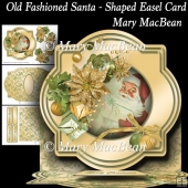 Old Fashioned Santa - Shaped Easel Card