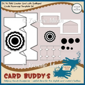 DL Tri Fold Cracker Card with Scalloped Circle Pyramage Template