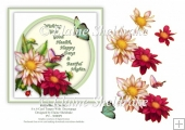 Butterflies & Dehlias - 6 x 6 Card Topper Verse & Decoupage