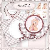 Baby girl scalloped rocker card
