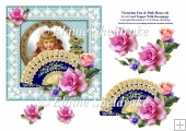 Victorian Fan & Pink Roses (4) - 6 x 6 Card Topper & Decoupage