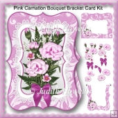 Pink Carnation Bouquet Bracket Card Kit