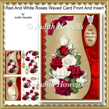 Red And White Roses Waved Card Front And Insert