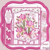 Iris and Butterflies Pink 8x8 Floral Decoupage Mini Kit