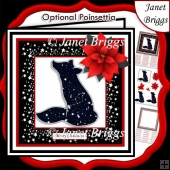 STARRY FOX & POINSETTIA Christmas or Birthday 7.5 Quick Card