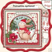 CHRISTMAS BUNNY WAITING FOR SANTA 8x8 Decoupage & Insert Kit