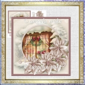 Christmas window 7x7 card with decoupage