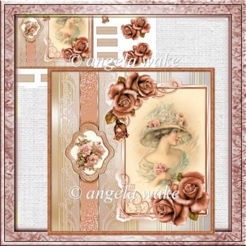 lady of the rose card with decoupage