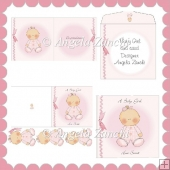 BABY GIRL IN SLEEP SUIT 6X6 CARD
