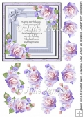 Lilac Rose cluster Frame with verse and decoupage A4 sheet