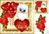 Cute little white valentine owl with roses & heart 8x8