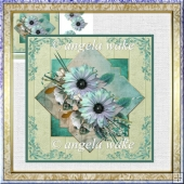 Diamond blue daisy card with decoupage