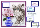 Silver Tabby Cat Tiptoeing Round The Roses - 8 x 8 Card Topper