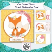 Cute Fox 7.5 Inch Birthday Card Front & Insert Kit