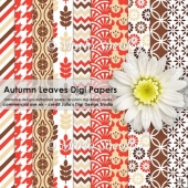 Autumn Leaves Digital Paper Pack {A4 Size}