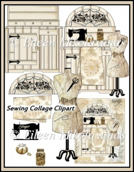 Sewing Cabinet Collage Journal Cover with Decoupage Elements