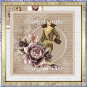 Elegance with a rose 7x7 card and decoupage