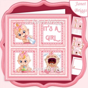 NEW BABY IT'S A GIRL SQUARES 7.5 Decoupage & Insert Mini Kit